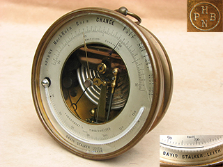 19th century brass cased aneroid barometer signed David Stalker no 18607
