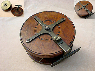 Vintage Starback walnut reel with inner brass flange