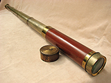 Antique 4 draw mahogany telescope engraved 'J.P. Cutts London Warrented'