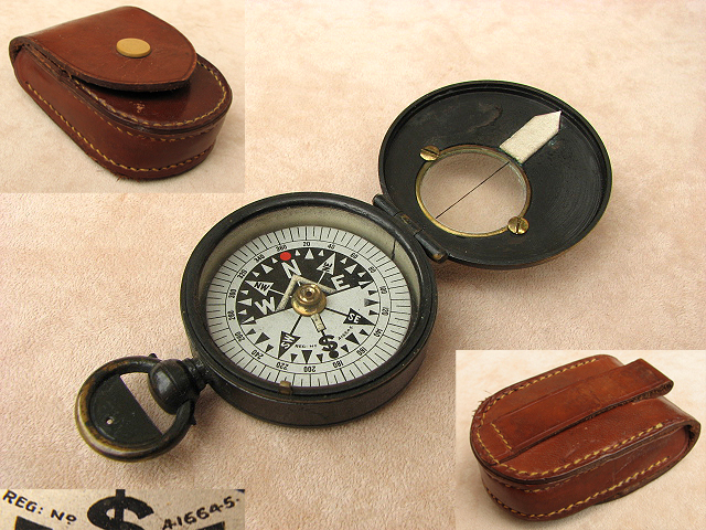 Early 20th century R.G.S. pattern pocket compass with leather case