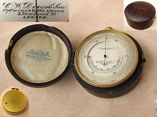 19th Century Pocket Barometer with thermometer by C.W. Dixey & Son
