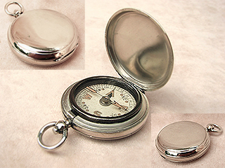 Full hunter cased MK VII pocket compass in nickel plated case