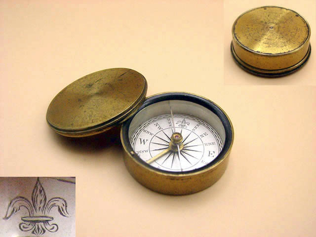 19th century travellers pocket compass with lid circa 1850
