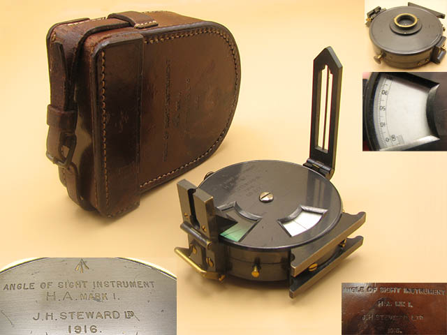 WW1  MK I Angle of Sight instrument by J H Steward, dated 1916)