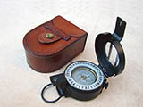 Francis Barker M-73 prismatic compass with leather pouch