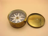 Early 19th century French brass cased compass signed BURON PARIS.