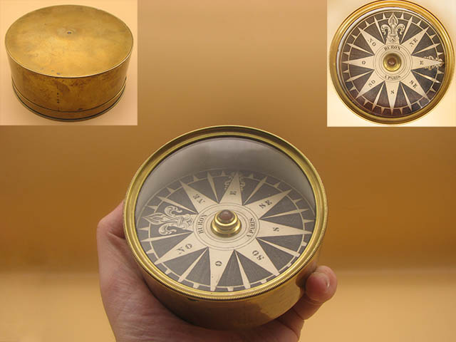 Early 19th century French brass cased compass signed BURON PARIS
