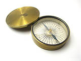 Antique 19th century brass cased pocket compass by Henry Hughes & Son.
