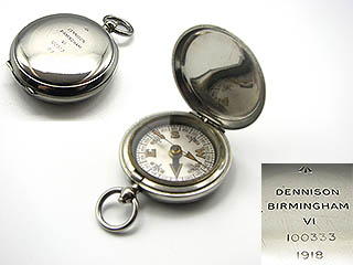 Dennison WW1 MK VI military pocket compass dated 1918