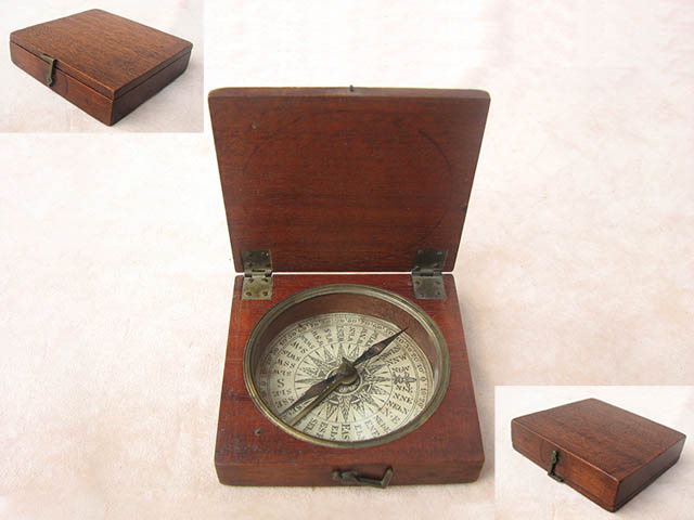Georgian mahogany cased pocket compass circa 1820