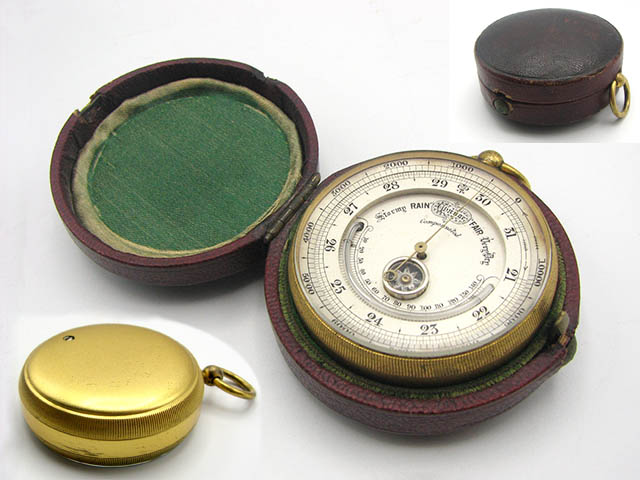 Antique pocket barometer with compass & thermometer circa 1870's