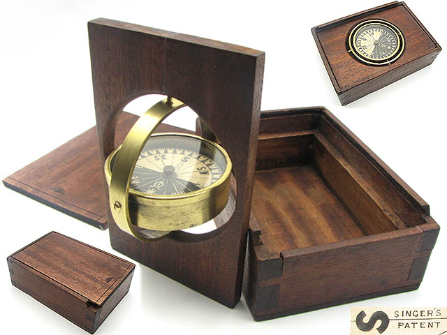 19th century Singer's Patent gimbal mounted compass in mahogany case