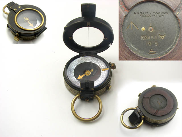 WW1 Verners Pattern MK VII prismatic compass engraved 'ANGLO-SWISS ASSOCIATION' belonging to Lieutenant Col. S.F. Thomas DSO.