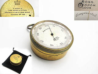 Antique Ross pocket barometer with Lord Napier & Ettrick inscription 1913