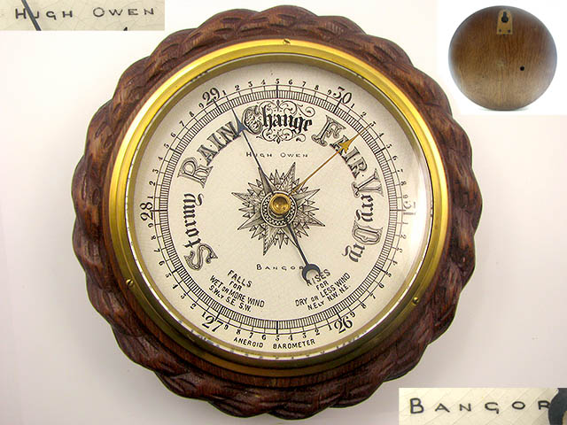 Late 19th Century Aneroid Rope twist barometer signed Hugh Owen Bangor