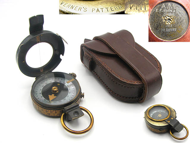 WW1 Verners Pattern MK VIII compass by E R Watts & Son, dated 1918