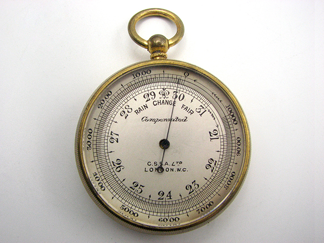 19th century pocket barometer and altimeter signed C.S.S.A. Ltd London W.C.