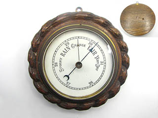 Early 20th Century Rope twist aneroid wall barometer