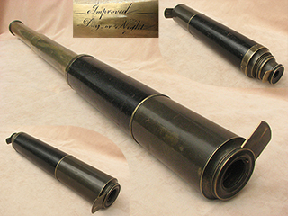 19th century Improved Day or Night 2 draw ships telescope.