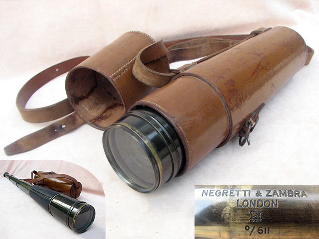 Negretti & Zambra 3 draw field telescope with case