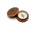 19th century Tunbridge Ware cased compass with geometric star design