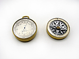 Charles Baker double sided pocket barometer and altimeter with Singers Patent mother of pearl dial compass