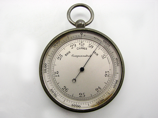 Pocket barometer with thermometer and Singers patent style compass compendium