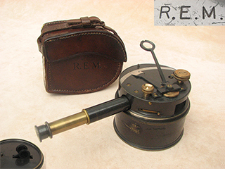 Antique pocket or box sextant with extending telescope and case