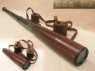 Powerful 3 draw military style field telescope 50x magnification, signed H & G