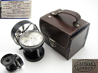 Vintage Casella London medium speed Air meter in fitted leather case