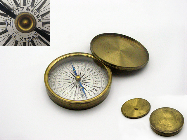 Elliott Bros 19th century prismatic compass, used in Zulu war of 1879