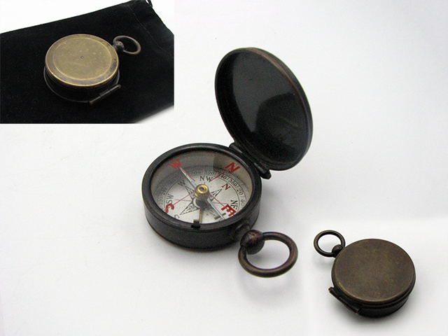 Edwardian hunter cased pocket compass with red cardinal points under crystal