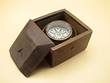 19th century Mariners compass gimbal mounted in mahogany case