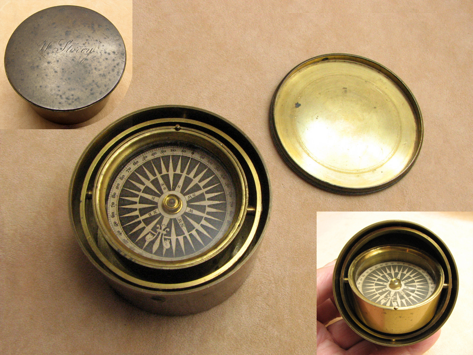 Rare brass gimbal mounted pocket compass circa 1840