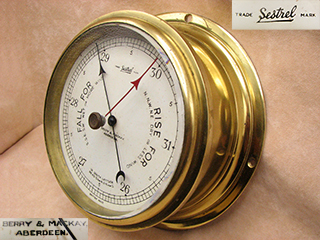 Henry Browne & Son Sestrel bulkhead marine barometer retailed by Berry & Mackay