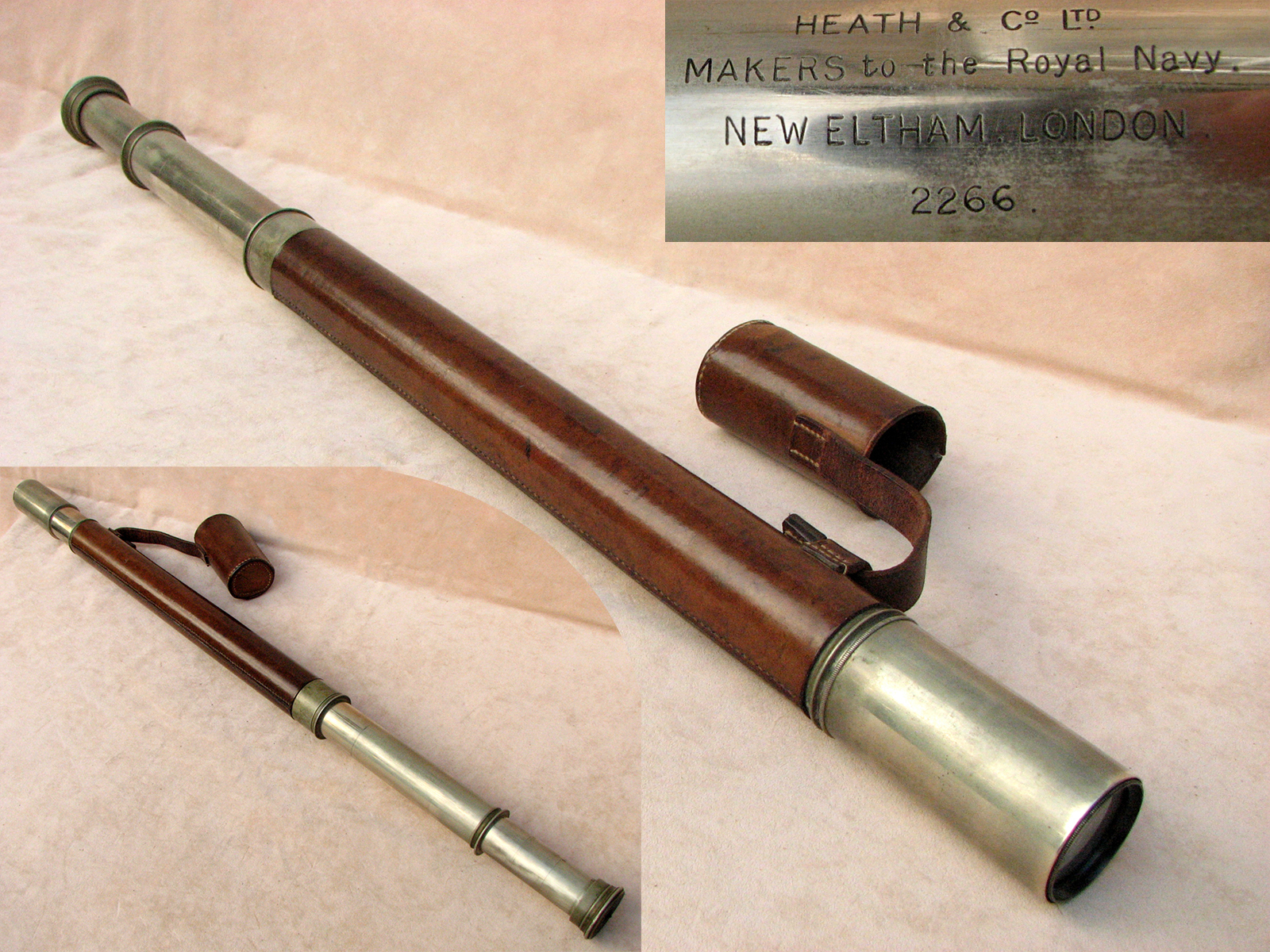 Officer of the Watch Naval telescope signed, 'HEATH & Co Ltd, Makers to the Royal Navy