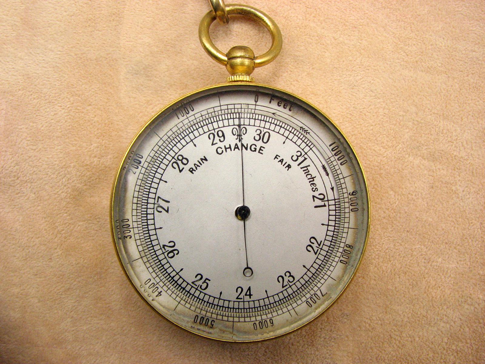 Victorian aneroid pocket barometer with altimeter, circa 1880