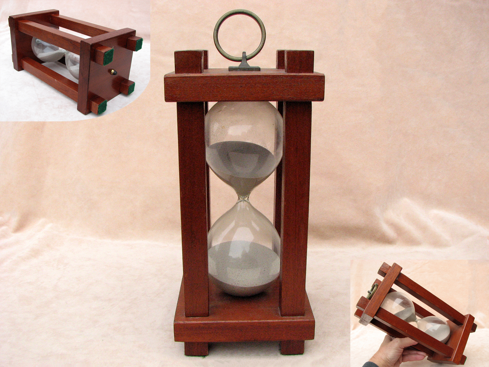 Large mid 20th century mahogany hourglass with square pillars