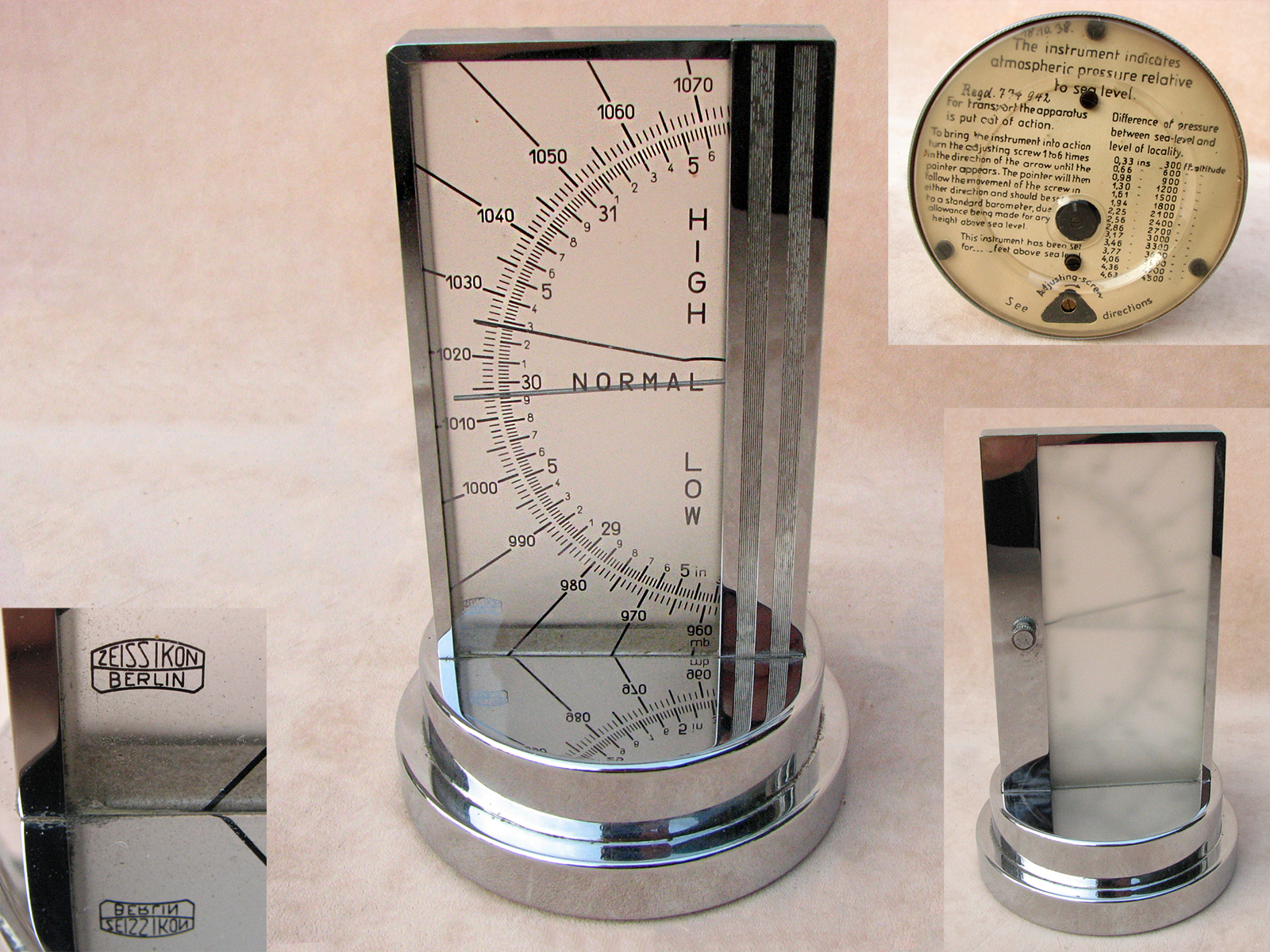 Rare 1930s Zeiss Ikon Art Deco period desk barometer