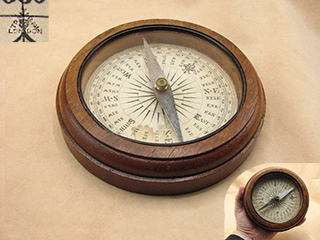 Francis Barker & Son mahogany cased desktop compass with Trademark London logo
