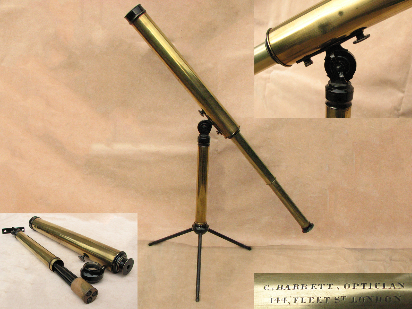 Classic Victorian table top telescope on stand, signed C Barrett, 144 Fleet Street, London.