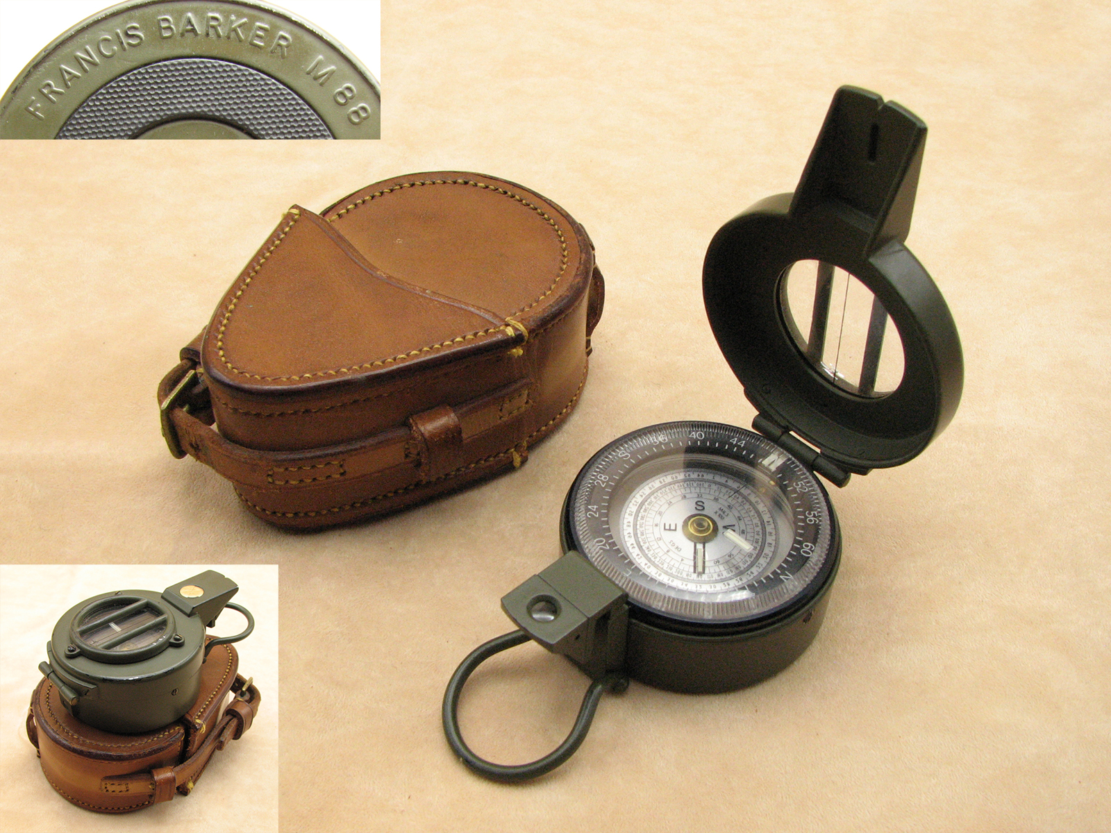 Francis Barker M88 military prismatic compass with dual use dial in leather case