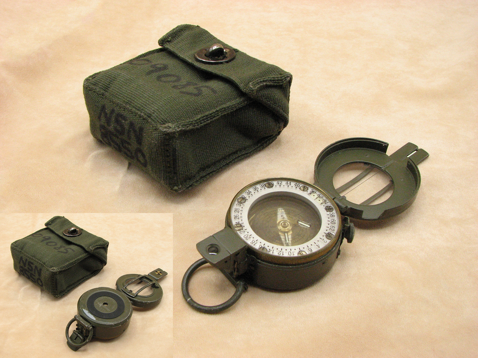 Stanley G150 mils version prismatic compass with patt 58 canvas pouch