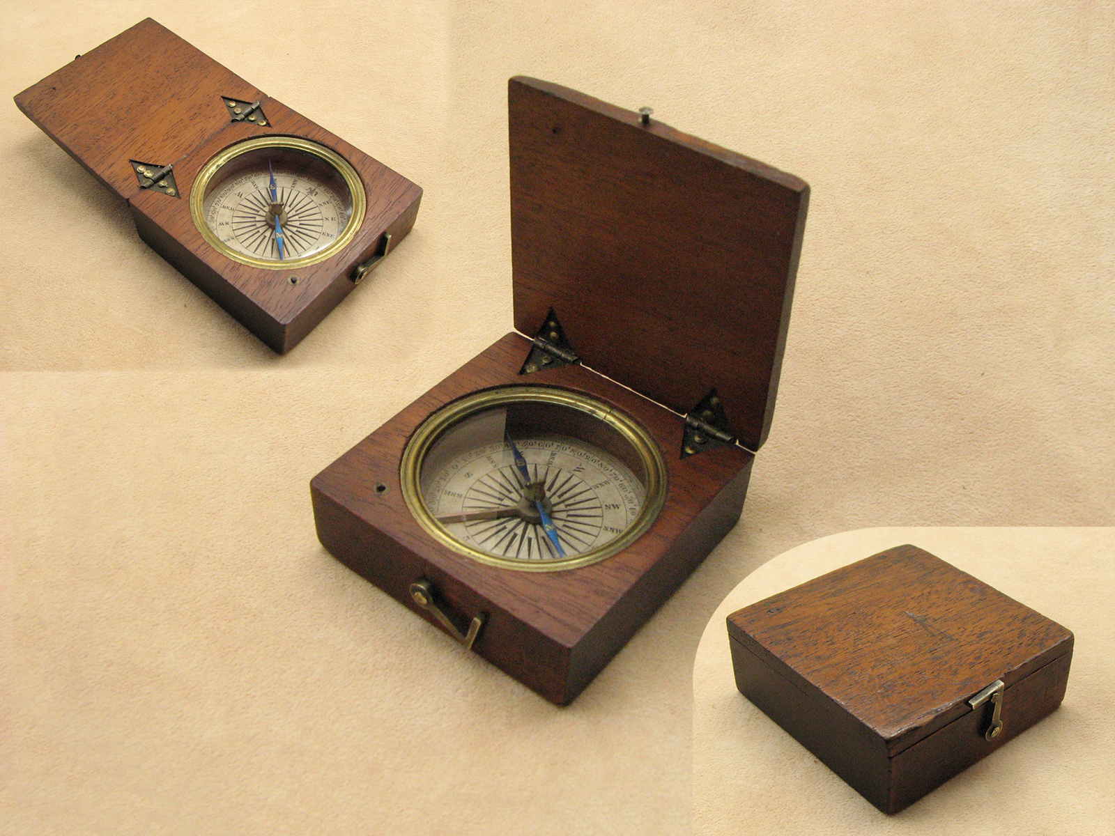 Regency period mahogany cased mariners pocket compass