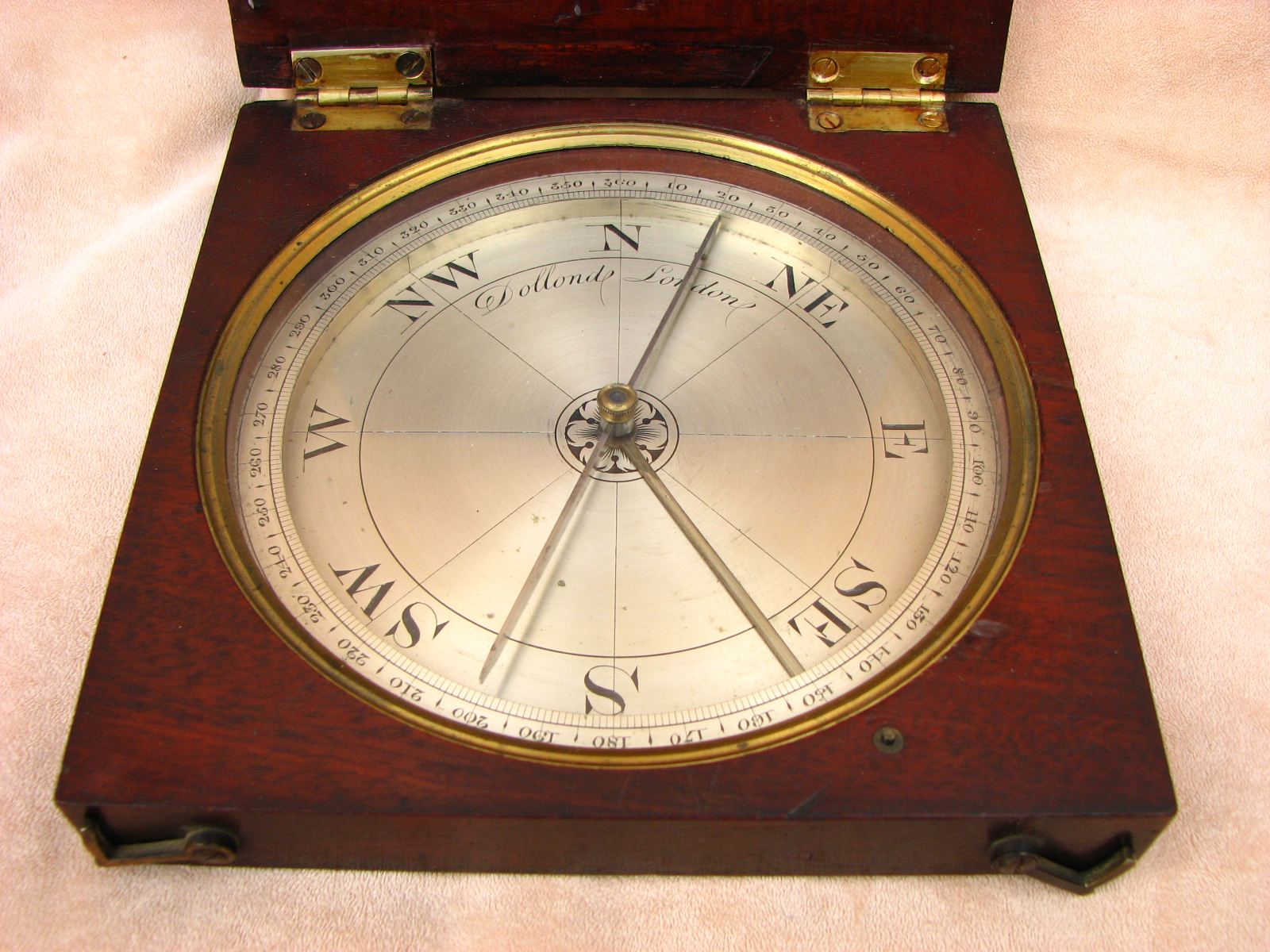 Large 19th century Dollond mahogany cased surveyors compass