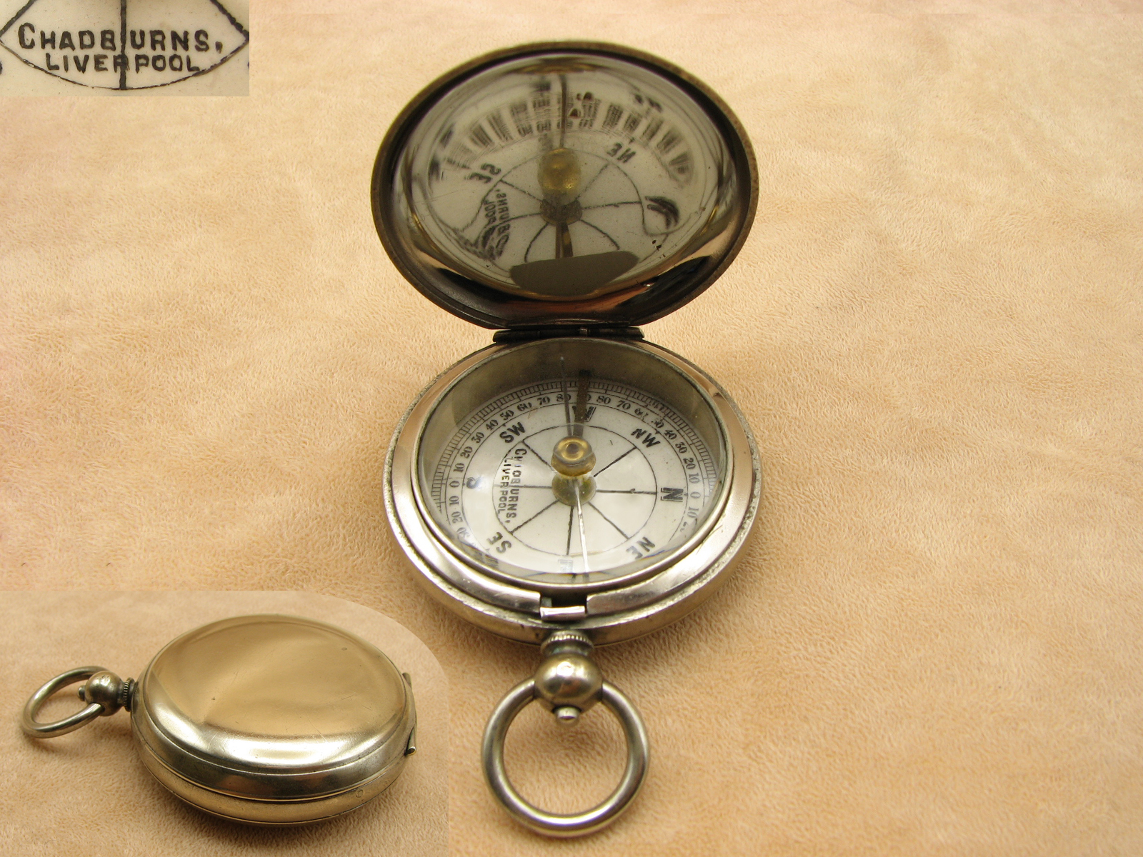 Antique hunter cased pocket compass signed 'Chadburns Liverpool'