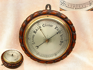 Late 19th century marine barometer in ropetwist dark oak body
