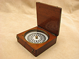 Antique 19th century mahogany cased Mariners pocket compass, circa 1840
