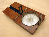 Antique Francis Barker mahogany cased needle compass with twin sight vanes