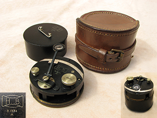 WW1 Hall Brothers pocket or box sextant with leather case
